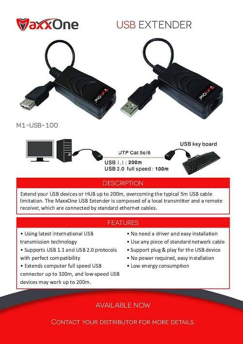 USB Over Cat5 Extender MaxxOne M1-USB-200 1